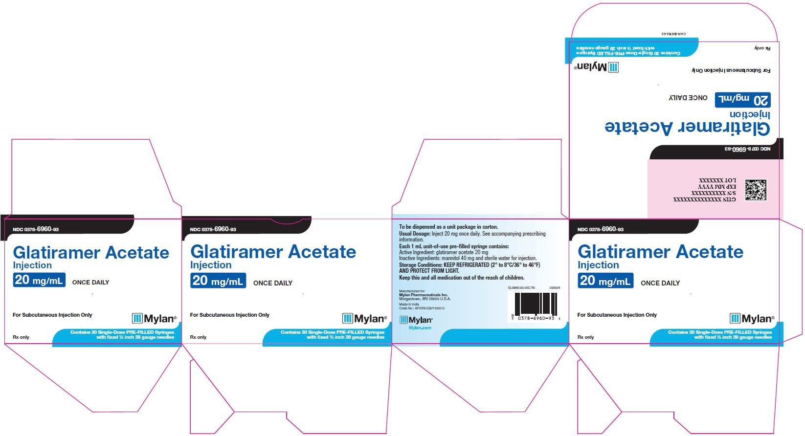 Glatiramer Acetate Injection 20 mg/mL Carton Label
