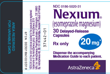 Nexium 20 mg 30 count bottle label