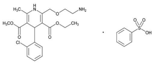 The structural formula for amlodipine besylate is chemically described as 3-ethyl-5-methyl (±)-2-[(2-aminoethoxy)methyl]-4-(2-chlorophenyl)-1,4-dihydro-6-methyl-3,5-pyridinedicarboxylate, monobenzenesulphonate. Its empirical formula is C20H25ClN2O5C6H6O3S.