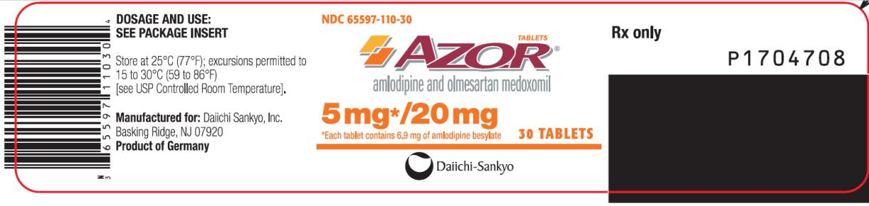 PRINCIPAL DISPLAY PANEL NDC: <a href=/NDC/65597-110-30>65597-110-30</a> AZOR amlodipine and olmesartan medoxomil 5 mg/ 20 mg 30 Tablets Rx Only