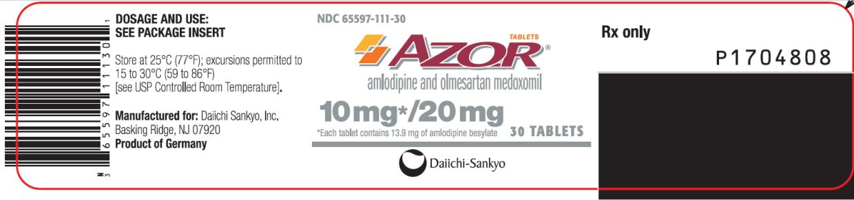 PRINCIPAL DISPLAY PANEL NDC: <a href=/NDC/65597-111-30>65597-111-30</a> AZOR amlodipine and olmesartan medoxomil 10 mg/ 20 mg 30 Tablets Rx Only