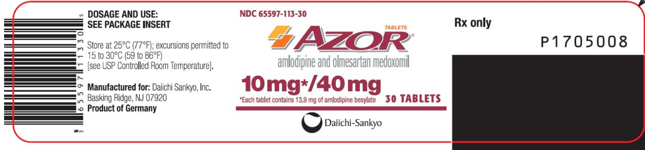 PRINCIPAL DISPLAY PANEL NDC: <a href=/NDC/65597-113-30>65597-113-30</a> AZOR amlodipine and olmesartan medoxomil 10 mg/ 40 mg 30 Tablets Rx Only