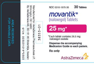 Movantik 25 mg 30 tablet bottle label