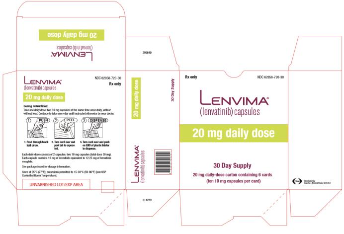NDC: <a href=/NDC/62856-720-30>62856-720-30</a> Lenvima (lenvatinib) capsules 20 mg daily dose 30 day supply 20 mg daily- dose carton containing 6 cards
