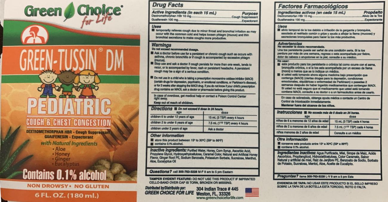 Green Tussin Pediatric label