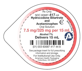 7.5 mg/325 mg Hydrocodone Bitartrate / APAP Oral Solution Lid Label