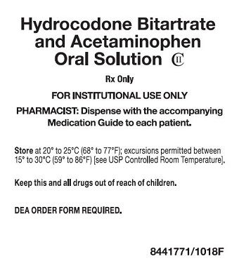 7.5 mg/325 mg Hydrocodone Bitartrate / APAP Oral Solution Tray Label