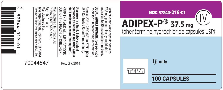 ADIPEX-P® Capsules 37.5 mg CIV 100s Label