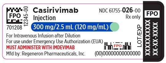 PRINCIPAL DISPLAY PANEL - 300 mg/2.5 mL Vial Label - Casirivimab