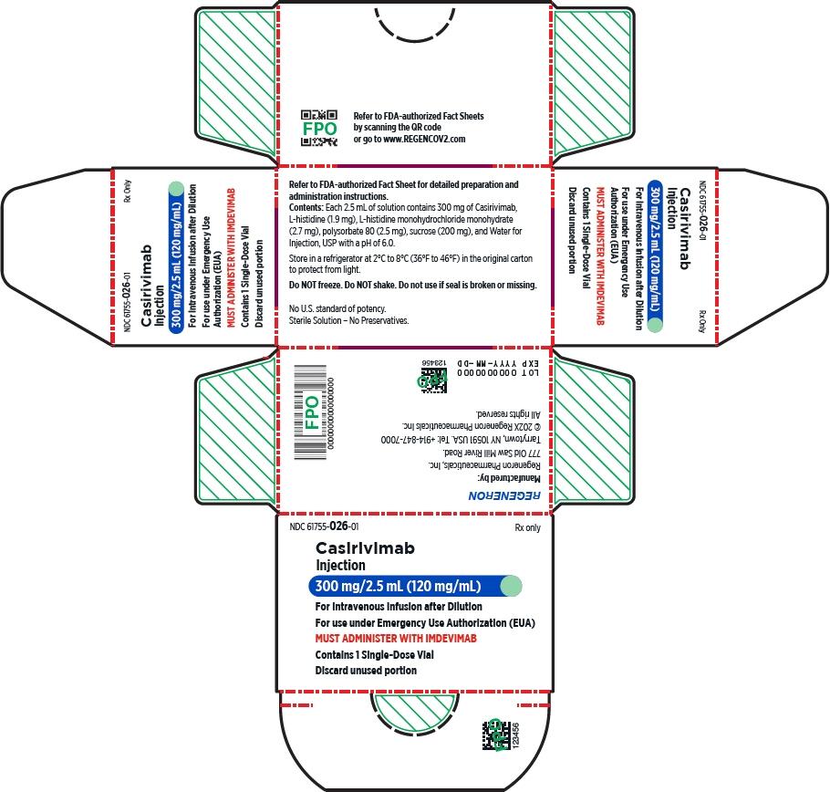 PRINCIPAL DISPLAY PANEL - 300 mg/2.5 mL Vial Carton - Casirivimab