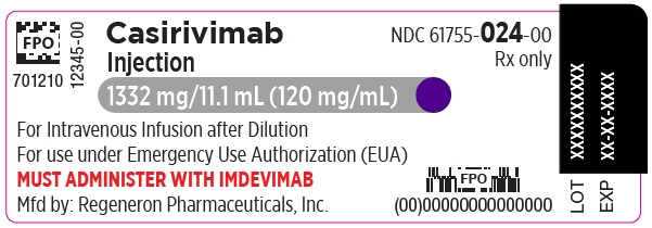 PRINCIPAL DISPLAY PANEL - 1332 mg/11.1 mL Vial Label - Casirivimab