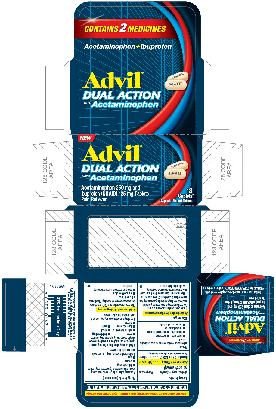 PRINCIPAL DISPLAY PANEL - 18 Caplet Bottle Carton