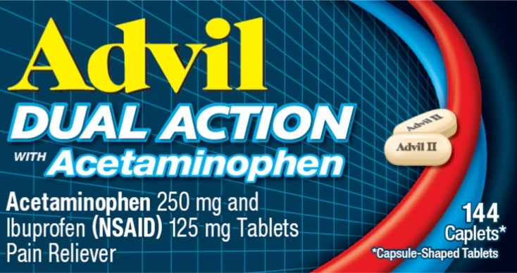 Advil Dual Action Capsule-Shaped Tablets 144ct Carton