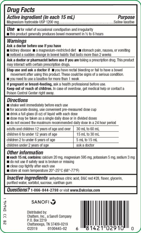 Dulcolax Liquid Saline Laxative - Cherry Magnesium Hydroxide 1200 mg per 15 mL Saline Laxative Stimulant-Free 12 Fl Oz (354 mL)