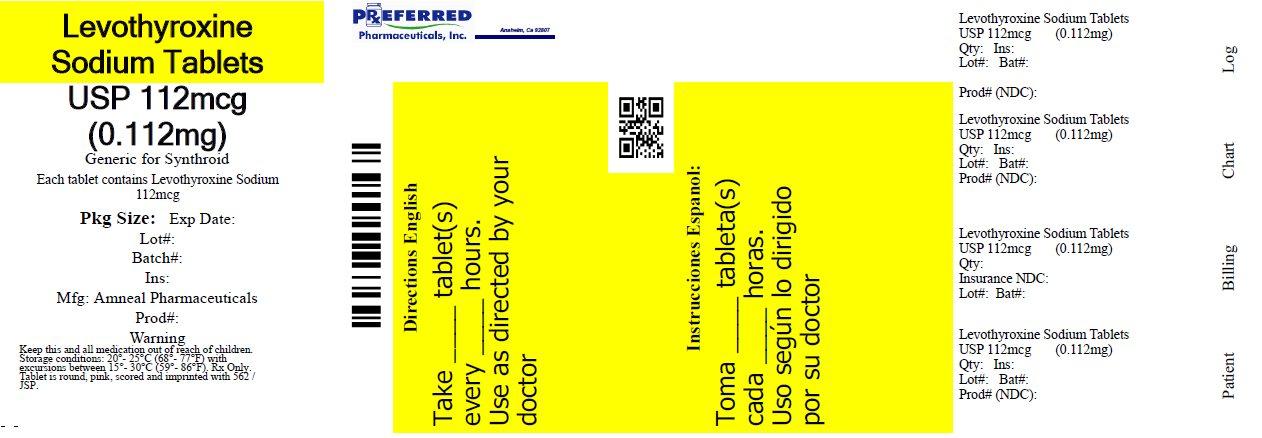 Levothyroxine Sodium Tablets USP 112mcg (0.112mg)