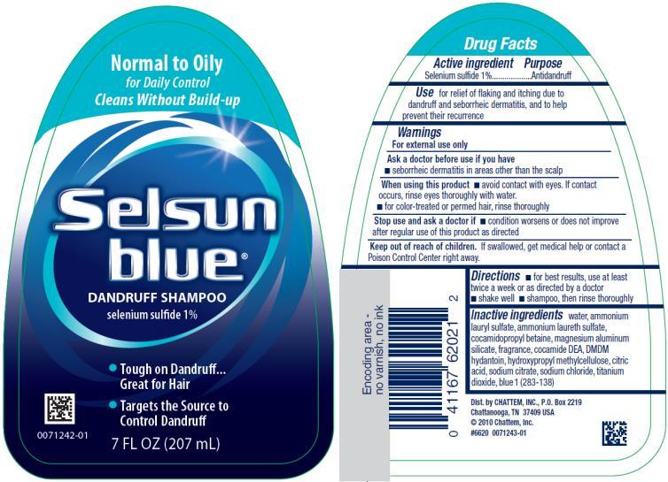 PRINCIPAL DISPLAY PANEL Normal to Oily Selsun blue® DANDRUFF SHAMPOO selenium sulfide 1% 7 FL OZ (207 mL)