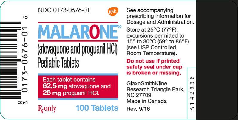 Malarone Pediatric 100 count label