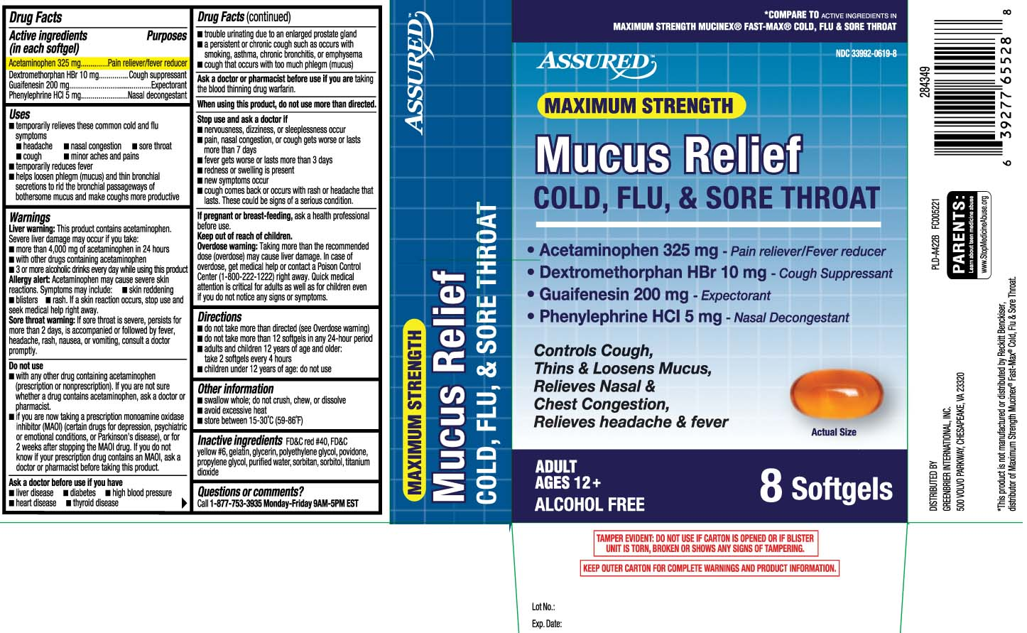 Acetaminophen 325 mg, Dextromethorphan HBr 10 mg, Guaifenesin 200 mg, Phenylephrine HCI 5 mg
