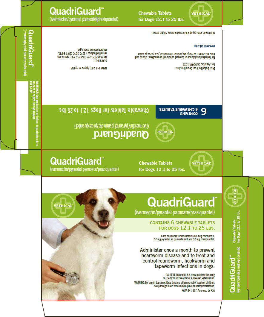 Quadriguard Ivermectin Pyrantel Pamoate Praziquantel Chewable Tablets For Dogs