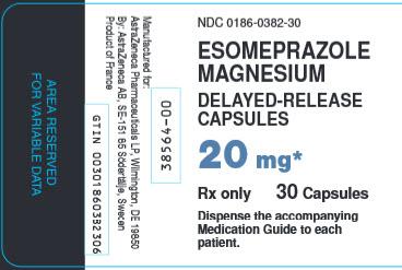 Esomeprazole Magnesium 20 mg 30 capsules bottle label
