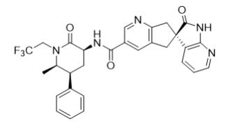 The following structural formula for UBRELVY is ubrogepant, a calcitonin gene-related peptide (CGRP) receptor antagonist. The chemical name of ubrogepant is (3'S)-N-((3S,5S,6R)-6-methyl-2-oxo-5-phenyl-1-(2,2,2-trifluoroethyl)piperidin-3-yl)-2'-oxo-1',2',5,7-tetrahydrospiro[cyclopenta[b]pyridine-6,3'-pyrrolo[2,3-b]pyridine]-3-carboxamide.