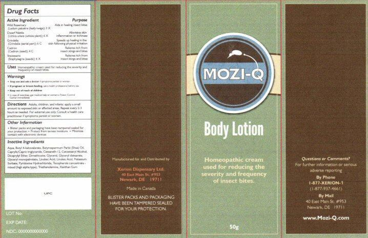 Xerion MoziQ Cream Label