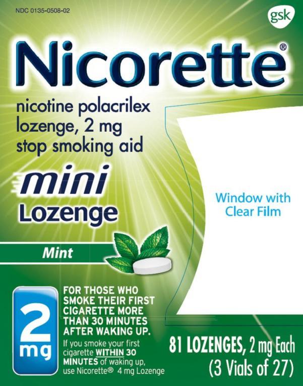 Nicorette Mini Lozenge 2 mg 81 ct carton