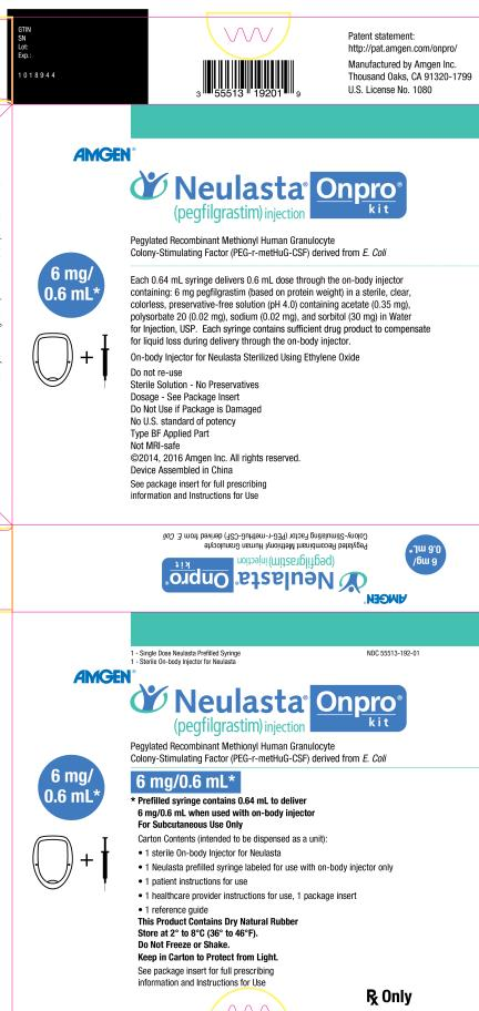 Principal Display Panel NDC: <a href=/NDC/55513-192-01>55513-192-01</a> 1 - Single Dose Neulasta Prefilled Syringe 1 - Sterile On-body Injector for Neulasta AMGEN® Neulasta® Onpro® kit (pegfilgrastim) injection Pegylated Recombinant Methionyl Human Granulocyte  Colony-Stimulating Factor (PEG-r-metHuG-CSF) derived from E. Coli 6 mg/0.6 mL* 6 mg/0.6 mL* * Prefilled syringe contains 0.64 mL to deliver  6 mg/0.6 mL when used with on-body injector For Subcutaneous Use Only Carton Contents (intended to be dispensed as a unit): 1 sterile On-body Injector for Neulasta 1 Neulasta prefilled syringe labeled for use with on-body injector only 1 patient instructions for use 1 healthcare provider instructions for use, 1 package insert 1 reference guide This Product Contains Dry Natural Rubber Store at 2° to 8°C (36° to 46°F). Do Not Freeze or Shake.  Keep in Carton to Protect from Light. See package insert for full prescribing  information and Instructions for Use Rx Only