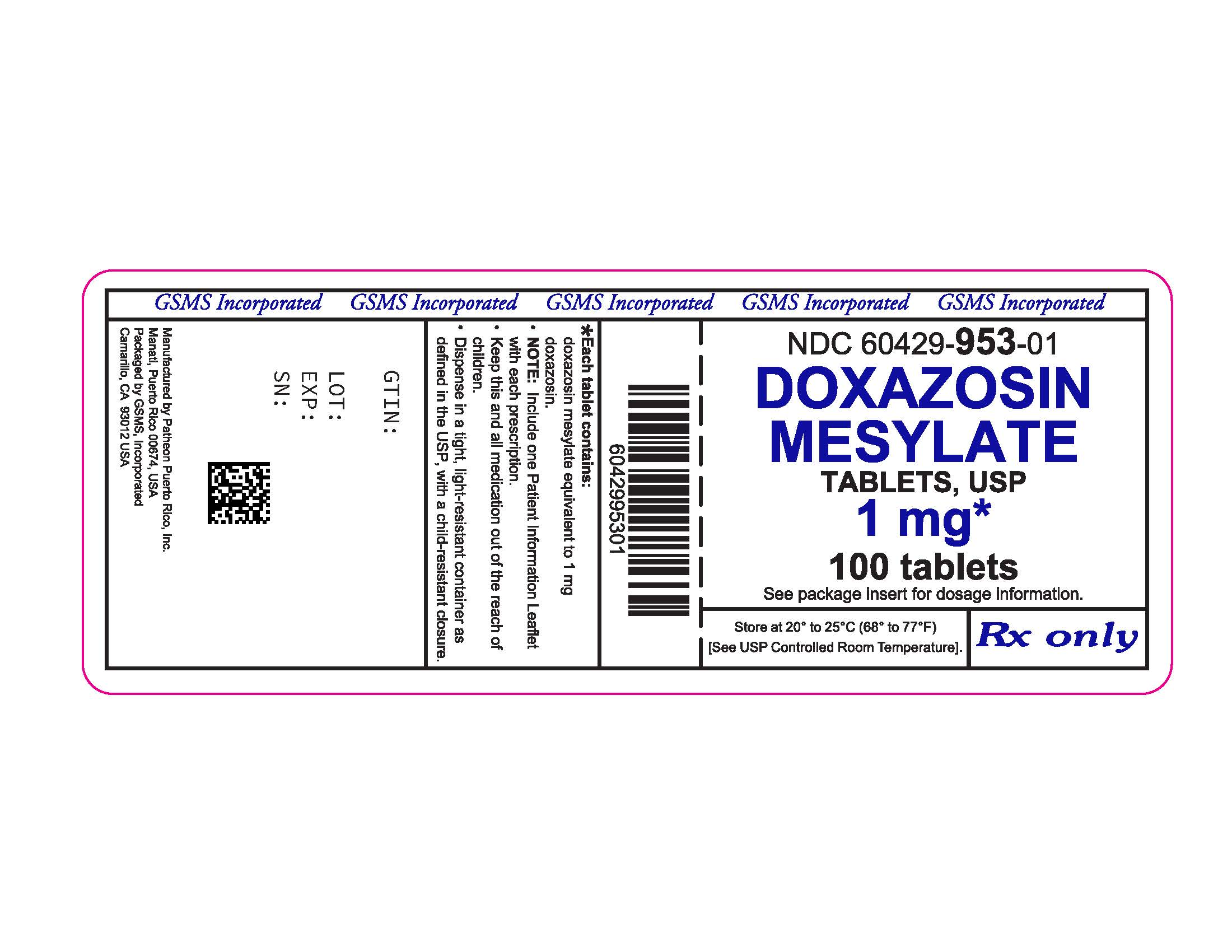 60429-953-01LB - DOXAZOSIN MESYLATE 1 MG TABS - REV JUN 2016 PMG JUN 2016.jpg