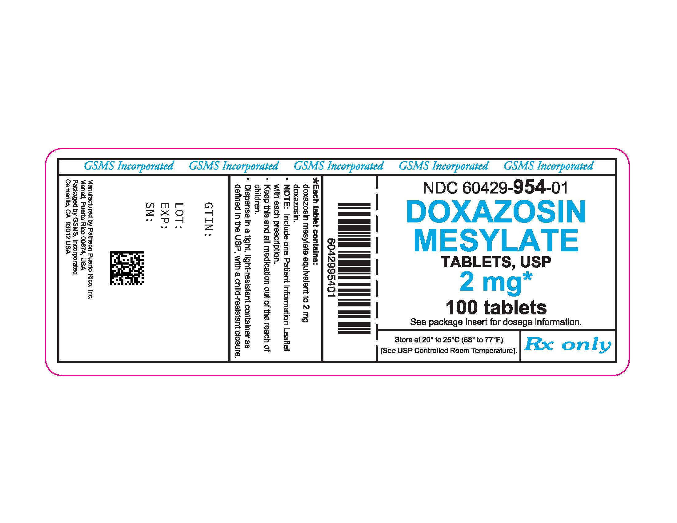 60429-954-01LB - DOXAZOSIN MESYLATE 2 MG TABS - REV JUN 2016 PMG JUN 2016.jpg