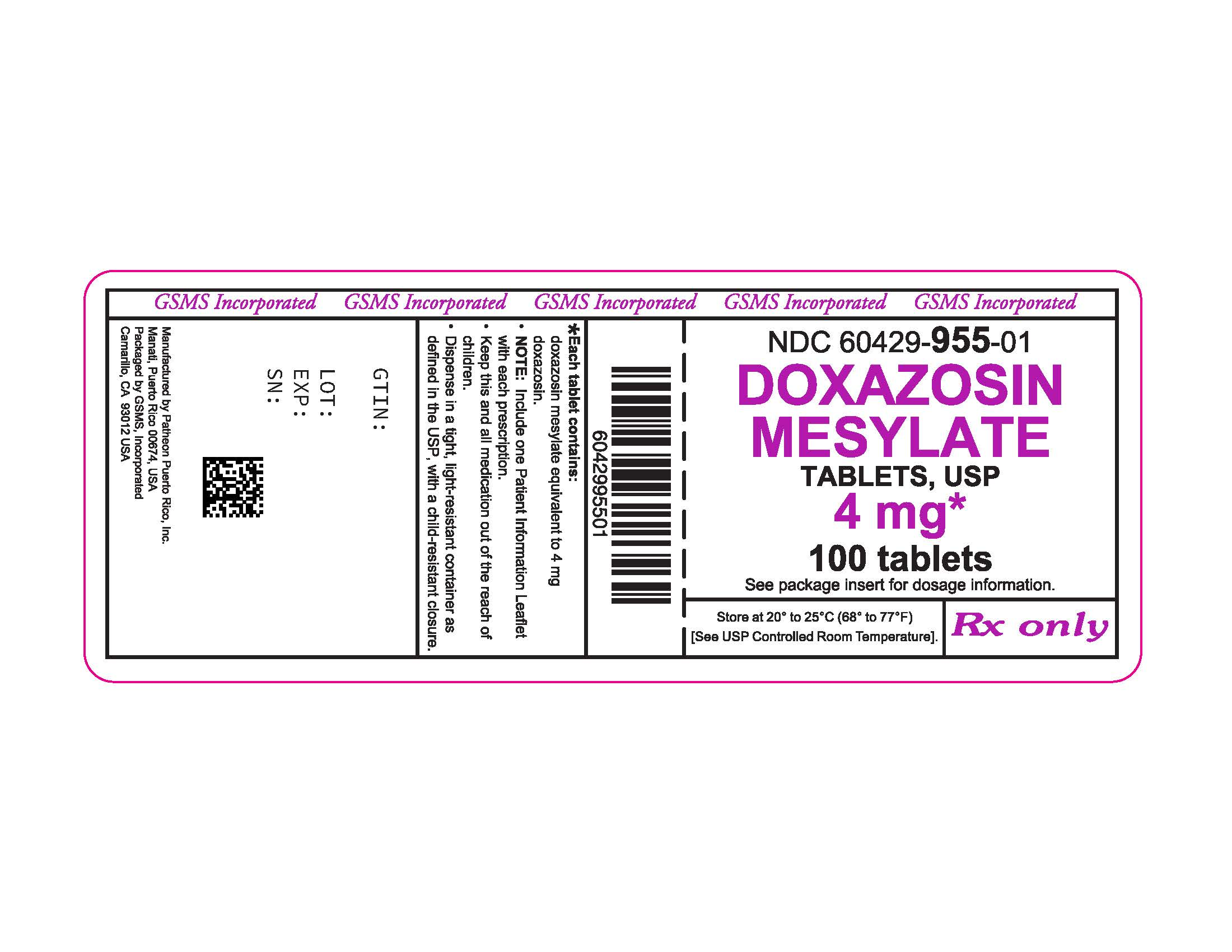 60429-955-01LB - DOXAZOSIN MESYLATE 4 MG TABS - REV JUN 2016 PMG JUN 2016.jpg