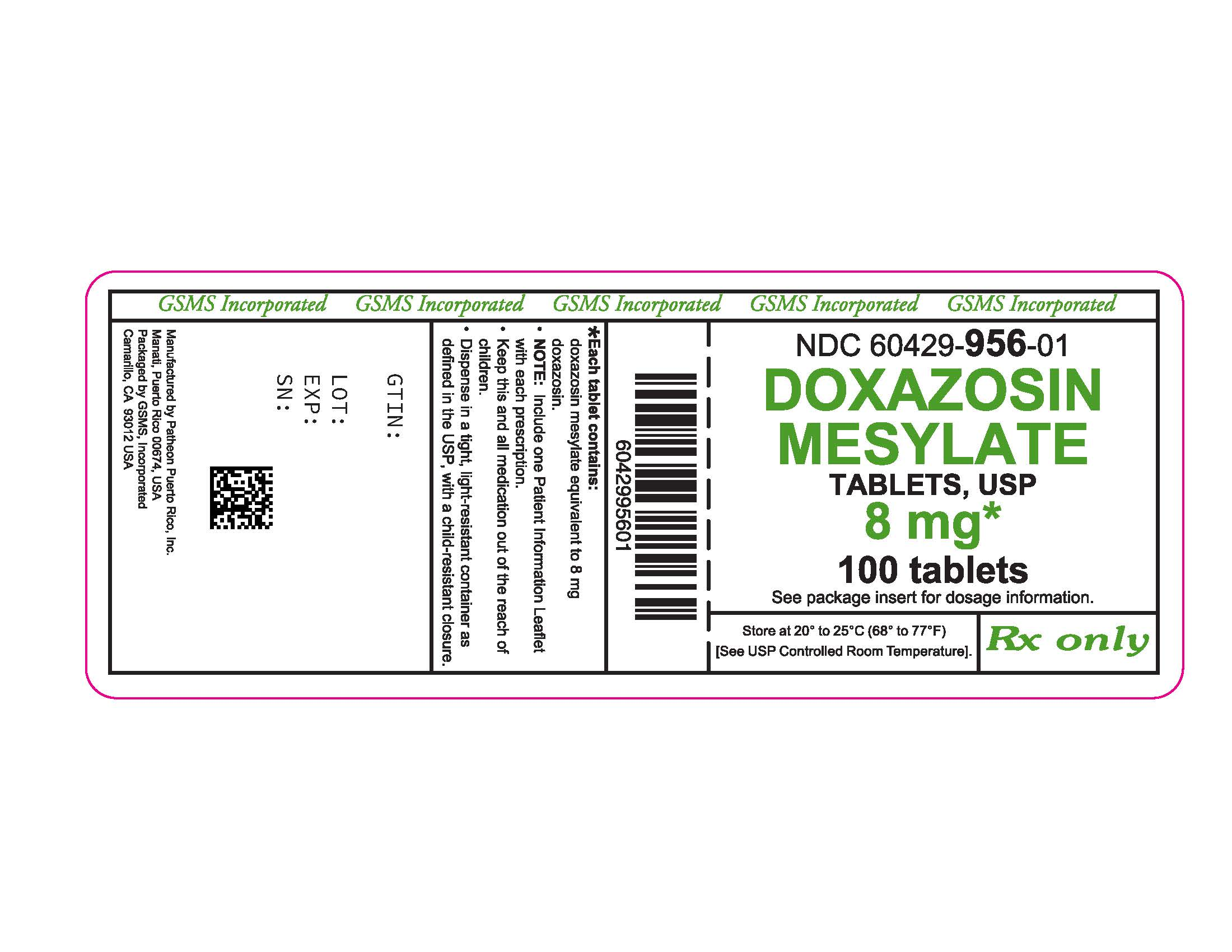 60429-956-01LB - DOXAZOSIN MESYLATE 8 MG TABS - REV JUN 2016 PMG JUN 2016.jpg