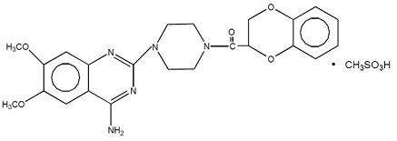 Image of the chemical structure of doxazosin mesylate.
