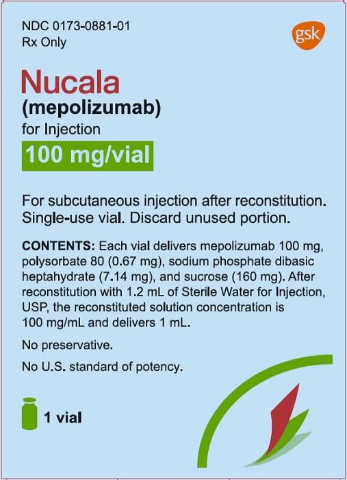 Nucala 100 mg per vial carton