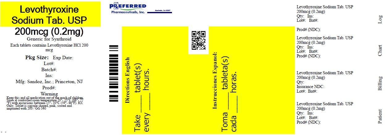 Levothyroxine Sodium Tab. USP 200mcg (0.2mg)